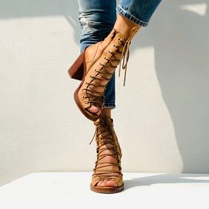 Ann Demuelemeester Tan Lace Up Sandal Boot 39 9
